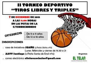 cartel torneo de basket tiros libres y triples diciembre